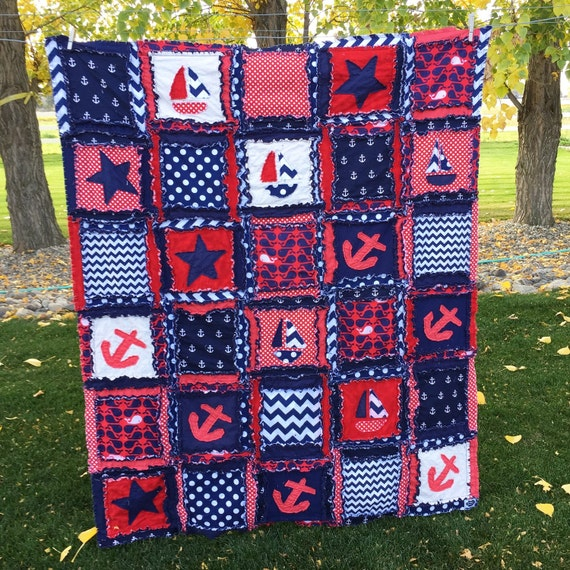 Nautical Rag Quilt In Red White And Blue Rag Quilt Throw