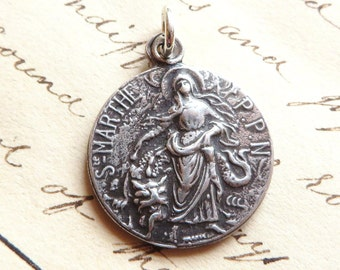 St Martha Medal - Patron of homemakers, housewives, chefs, and cooks - Antique R