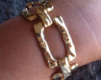 Bracelet, Chain Link Bracelet, Fashion Chain Bracelet, Gold Tone Bracelet, Gold Link Bracelet, 80s Bracelet, Bold Gold Bracelet