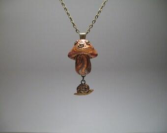 Mushroom Necklace - Snail Necklace - Polymer Clay Jewelry