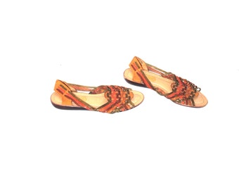 leather huarache sandals 80s vintage multicolored braided leather boho huaraches size 8