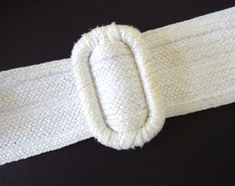 Vintage 1980's Wide White Woven Straw Belt, Modern Size 8 to 10, Small to Medium