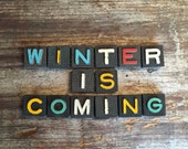 Winter Is Coming Vintage Wood Anagram Game Pieces, Vintage Home Decor Gifts under 25, Alice in Wonderland, Black Friday Etsy