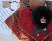 Welsh Goddess Cerridwyn Mixed Media Wearable Textile Art Spirit Bag Animal Shapeshifter