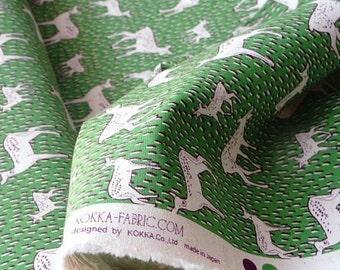 Japanese Fabric Kokka Cotton Linen Blended - Deer - Half Yard
