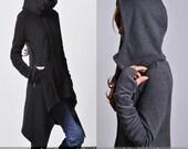 Wanderer - thick cotton fleece jacket / asymmetrical hoodie jacket / cowl neck lined parka coat / gray sport jacket (Y1528)