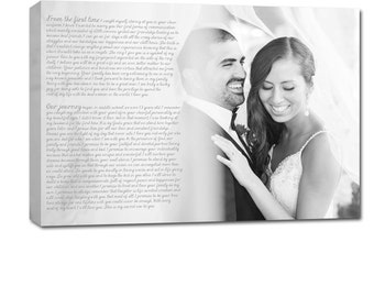 Personalized Couples Gifts Your Photo to Canvas Words Wedding Photo and Poems vows lyrics Anniversary 12x16
