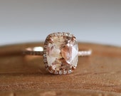 Rose gold engagement ring 3.68ct champagne sapphire diamond ring 14k rose gold oval sapphire no halo ring