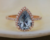 on hold final payment - Sapphire Engagement Ring Blue Grey sapphire 14k Rose Gold Diamond ring Pear Sapphire Ring