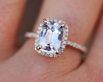 reserved part 2 - Full Band 14k RG and Sapphire Engagement Ring 14k Rose Gold Diamond Engagement Ring 2.29ct Cushion Peach sapphire ring.