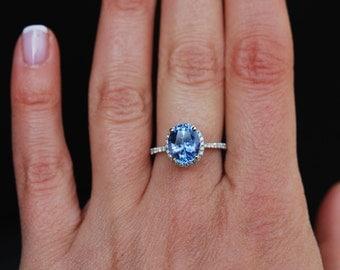 reserved -3ct Cornflower blue sapphire diamond ring 14k white gold engagement ring