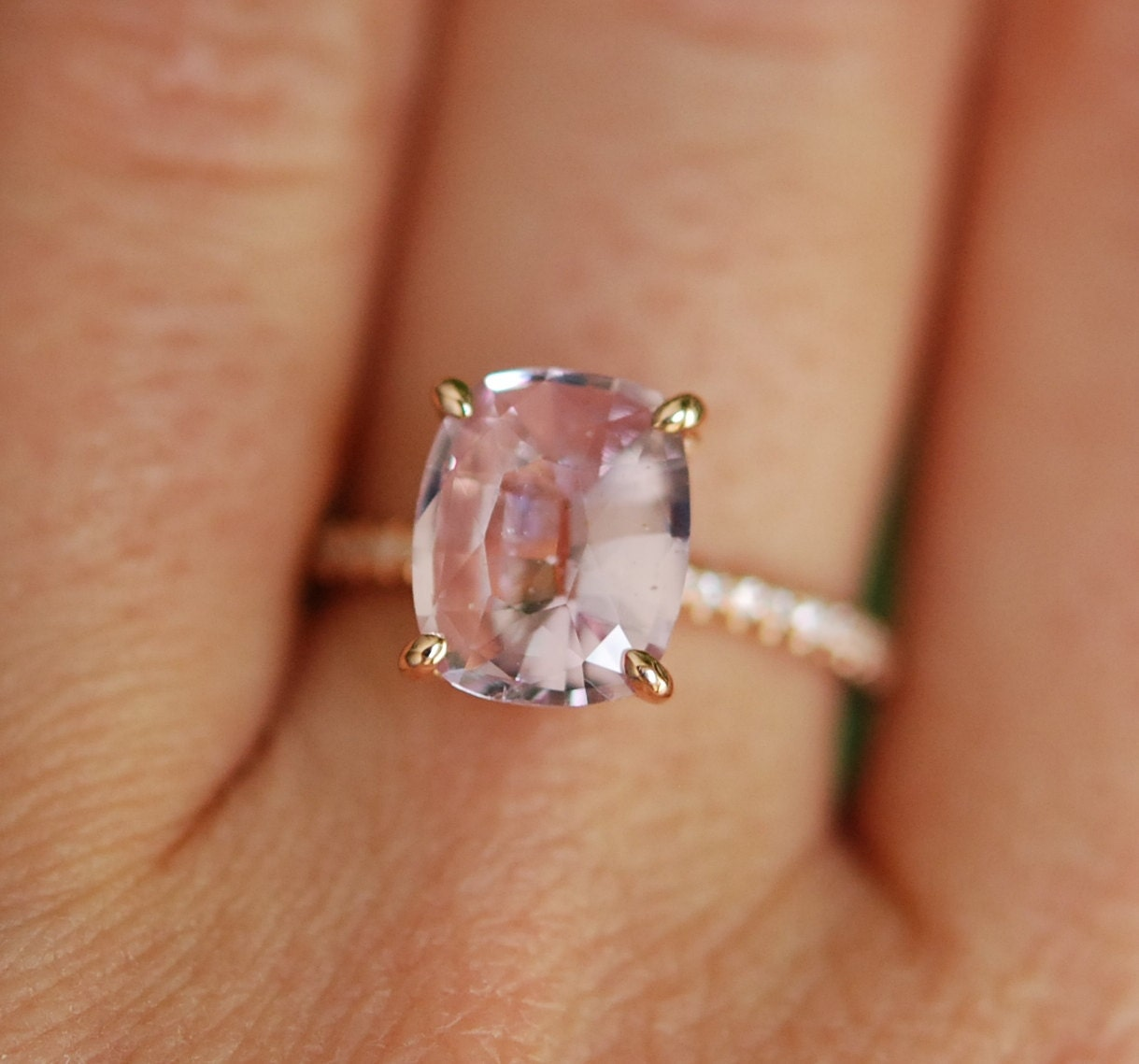 Blake Lively ring Blush Sapphire Engagement Ring oval cut 14k