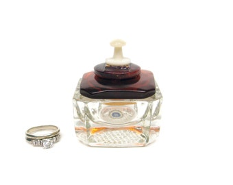 Square Salt Cellar Ring Box Maroon Orange Vintage Button Lid