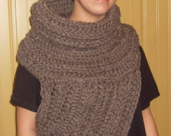 Ready to Ship Chunky catching fire District 12 Katniss inspired archer half sweater cowl