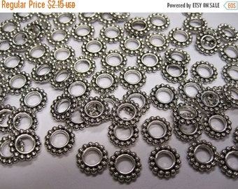 ON SALE 40 Antique Silver Tone Large Hole Bali Style Heishe Daisy Spacers Rondelles 10mm