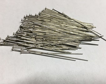 100 Antique Silver Plated 2 inch Headpins 21 gauge F332