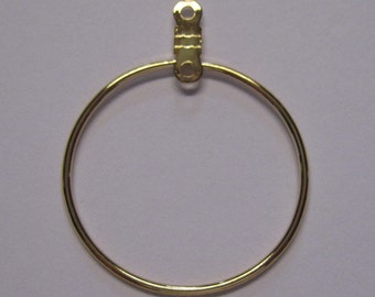 5 pairs Gold Plated Steel Smooth Closed Round Beading Hoops 26mm F243