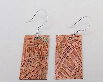 Etched copper steampunk jewelry earrings. Steampunk earrings.