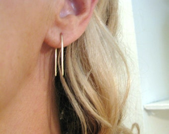 Arc Arch Minimal Wire Earrings Solid 14K Gold (Yellow, Rose, or White) Small Medium & Large Single or Pair