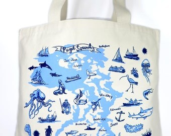 Puget Sound Screen Print Natural Canvas Tote Bag