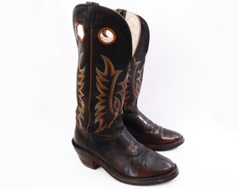 vintage BUCKAROO  boots // western cowboy boots // dude wrangler boots // made in USA // cowpunchers // men's size 10