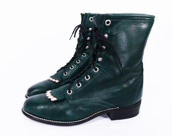 vintage FOREST GREEN lace up ropers // 80's leather ankle boots // combat grunge boots // women's 8 M // made in USA