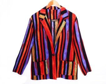 80's vintage ABSTRACT STRIPES slouch jacket // oversize blazer // slouchy blazer // rayon // S M