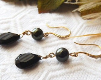 One of a Kind 18K Gold Vermeil, Onyx, Glass Pearl and Crystal Earrings