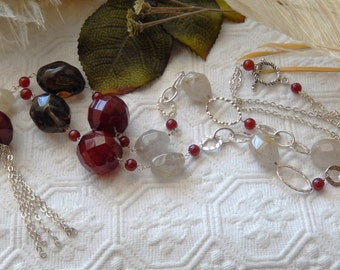 SALE.....One of a Kind Super Long Sterling Silver, Smoky Quartz and Carnelian Necklace
