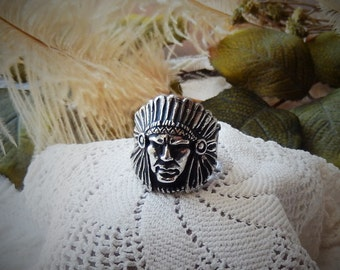 Vintage Unsigned .925 Sterling Silver Chief's Head Men's Ring Size 10.5
