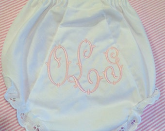 Heirloom Embroidered Monogram Bloomers Diaper Cover Panty Personalized Baby Child