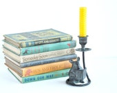 cast iron candlestick mouse reading book vintage candle holder circa 1990 decorative cute book lover gift