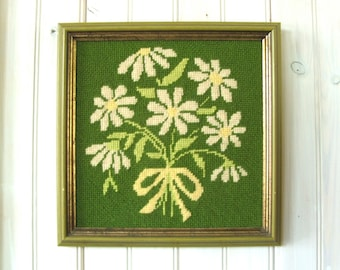 Vintage Framed Needlework Picture of Daisies ~ Floral Bouquet