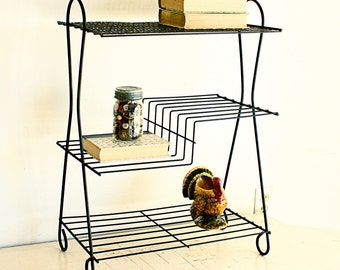 Vintage stand - telephone stand - magazine stand - magazine rack - end table - plant stand - metal