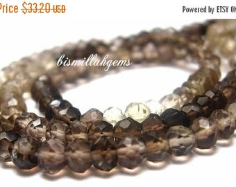 55% OFF SALE Full 14 Inches AAA Smoky Quartz Shaded Faceted Rondelles Size 3.5 - 4 mm