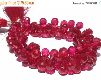 55% OFF SALE 1/2 Strand -  High Quality AAA Ruby Red Corundum Quartz Faceted Tear Drop Briolettes Size 12x7 - 9x6mm Approx