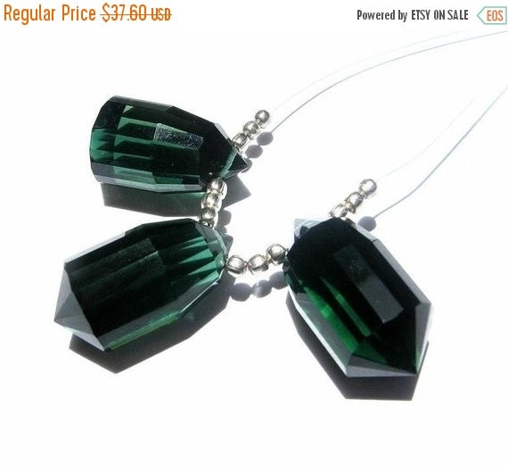 55% OFF SALE 3Pc Set AAA Chrome Green Quartz Faceted Fancy Chandelier Briolettes Size 20x10mm approx