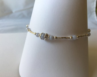 Sterling Silver Blue Lace Agate Anklet