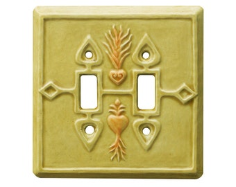Crest of Hearts Ceramic Light Switch Cover Double Toggle in Apricot Gold Glaze