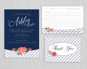 Navy and Coral Bridal Shower Invitation - Striped Floral PRINTABLE Invitation Set with Recipe and Thank You Card