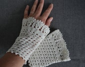 Lace crochet wristies, wristlets, cotton, P491