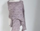 Lace knitted shawl, mauve, pale purple, P423