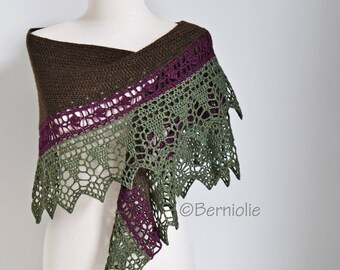 Crochet lace shawl, lace, green, burgundy, brown, wool / cotton, P458