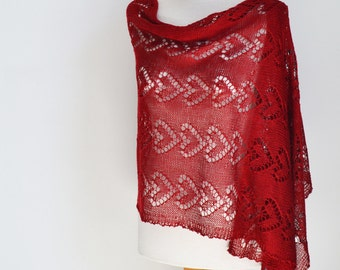 Lace knitted shawl, Red, P459
