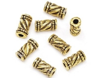 5 X 11mm Tube Bead Gold colored 8 pieces per package fnt