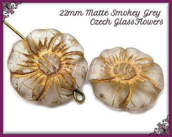 4 Czech Glass Flower Beads, Matte Flower Beads, Smokey Gray & Bronze 22mm GCZB1