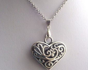Filigree Heart Necklace, Heart Necklace