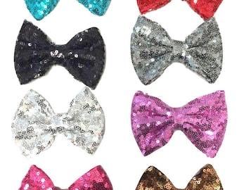 5 Pcs of 4 inches Tuxedo sequin plush bow -  Choose Colors