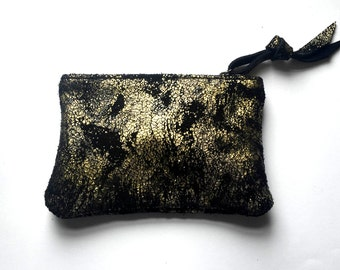 Black metallic leather suede pouch  mix of gold and silver tones