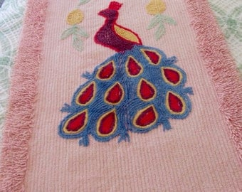 Vintage Cotton Chenille Peacock Rug Mat Bath Bed on Pink - Shabby Cottage Chic